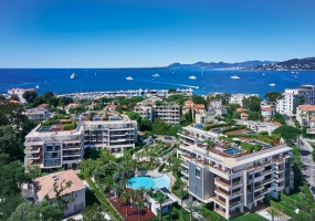 Large apartment for sale Cap d'Antibes near Pinède beaches and shops in brand-new residential complex - BirdView