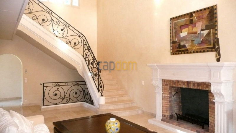 Large stone-built villa for rent cap antibes  - Entrance Hall fireplace
