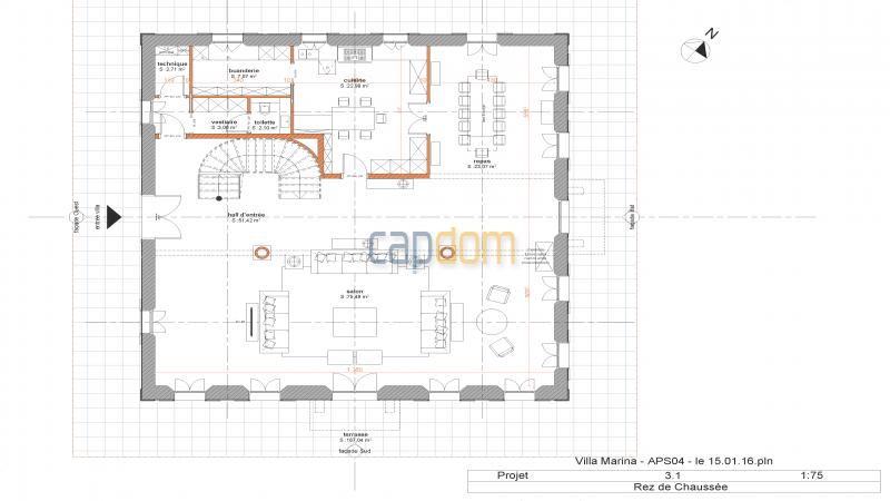 Property to restore Salis Beach Cap d Antibes - mapfloor garden level