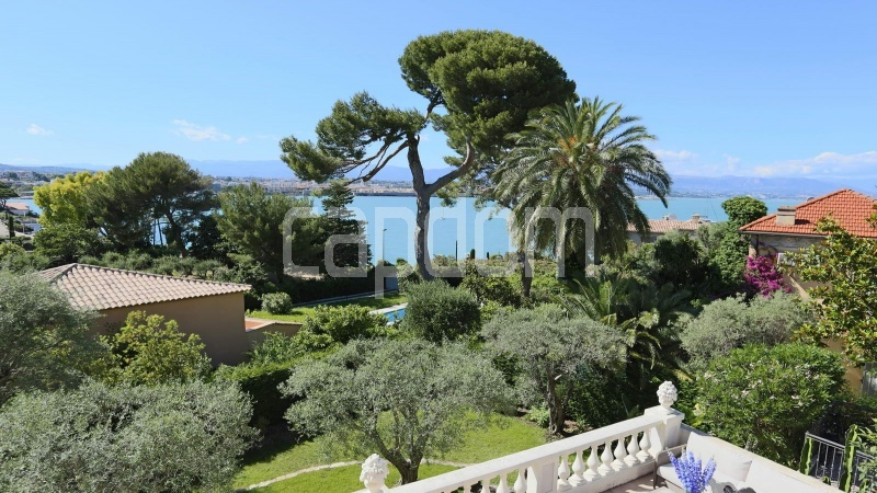 417 Charming sunny Villa for holiday rental in Cap d Antibes with beautiful view over the bay and the old town : facade - sea view