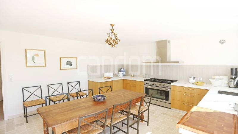 417 Charming sunny Villa for holiday rental in Cap d Antibes with beautiful view over the bay and the old town : facade - kitchen