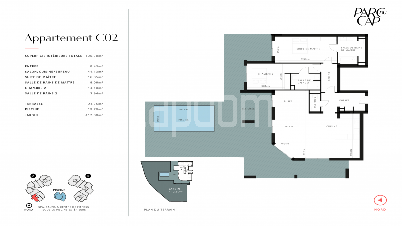Large apartment for sale Cap d'Antibes near Pinède beaches and shops in brand-new residential complex - Floormap