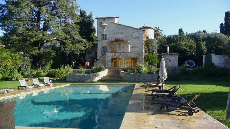 Large stone-built villa for rent cap antibes  - front view from swimming pool