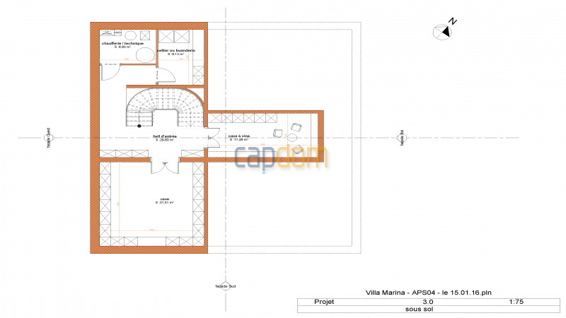Property to restore Salis Beach Cap d Antibes - mapfloor basement